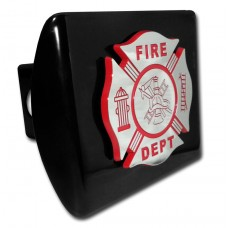 Fire Dept Red Logo on Black Hitch Cover