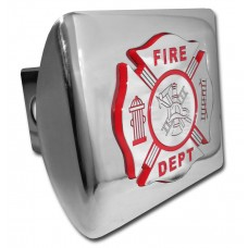 Fire Dept Red Logo on Chrome Hitch Cover