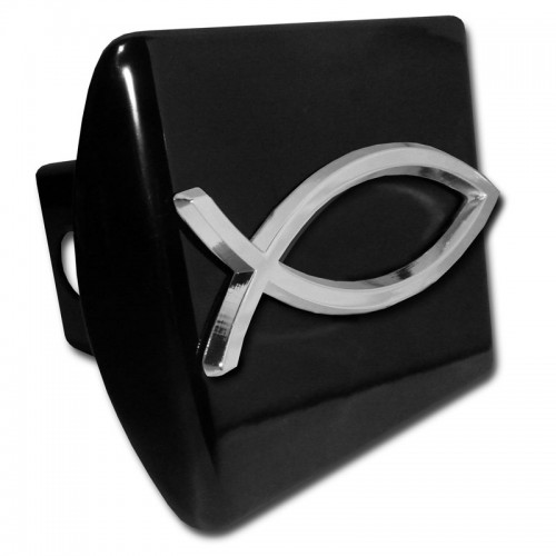 Fish logo chrome on black hitch cover religious hitch for Fish hitch cover