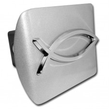 Fish Logo Chrome on Brushed Steel Hitch Cover