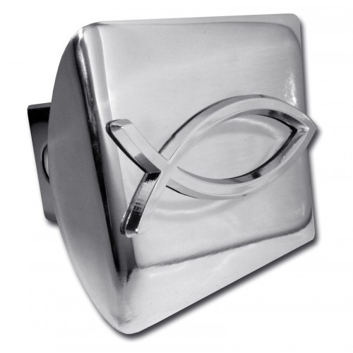Fish logo chrome on chrome hitch cover religious hitch for Fish hitch cover