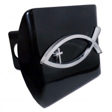 Fish Cross Chrome on Black Hitch Cover
