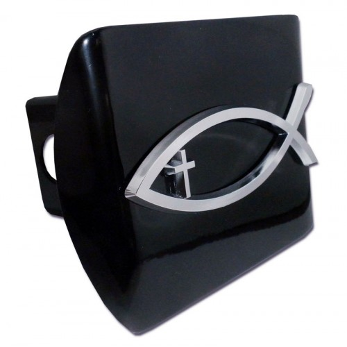 Fish cross chrome on black hitch cover religious hitch for Fish hitch cover