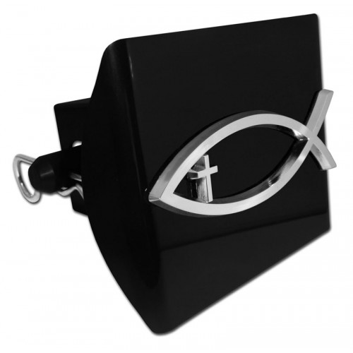 Plastic fish cross symbol chrome on black hitch cover for Fish hitch cover