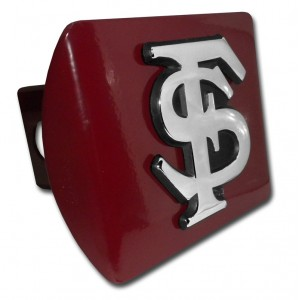Florida State Initials Chrome on Garnet Hitch Cover