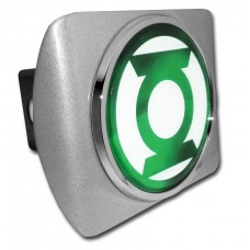 The Green Lantern Logo on Brushed Steel Hitch Cover