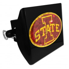 Plastic Iowa State Color Logo Bling on Black Hitch Cover