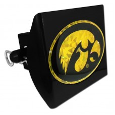 Plastic Iowa Color Logo Bling on Black Hitch Cover