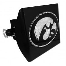 Plastic Iowa Black Logo Bling on Black Hitch Cover