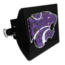 Plastic Kansas State Color Logo Bling on Black Hitch Cover
