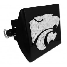 Plastic Kansas State Silver Logo Bling on Black Hitch Cover