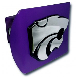 Kansas State Logo Chrome on Purple Hitch Cover
