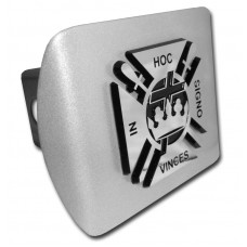 Knights Templar Logo Chrome on Brushed Steel Hitch Cover