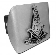 Freemason Past Master Symbol on Brushed Steel Hitch Cover