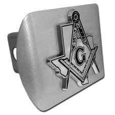 Freemason Texas Symbol on Brushed Steel Hitch Cover