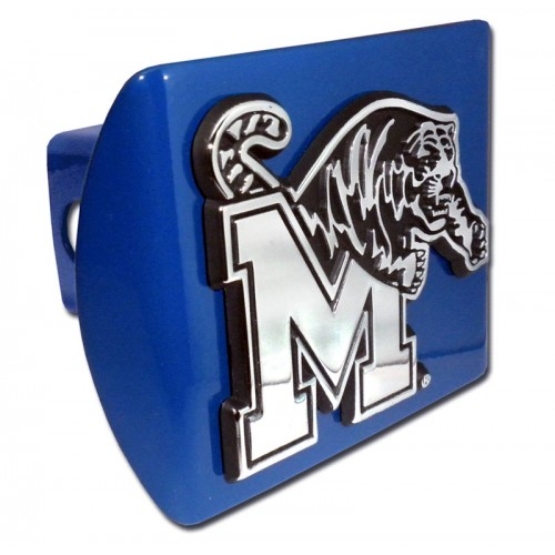 Memphis Logo Chrome on Blue Hitch Cover
