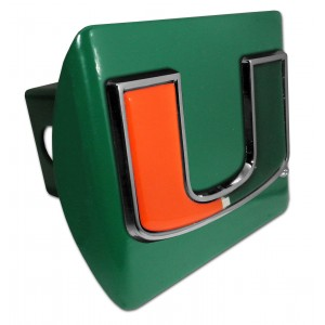 Miami Logo Color on Green Hitch Cover