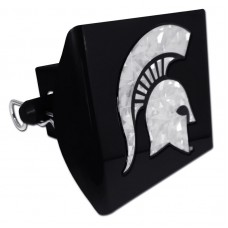 Plastic Michigan State Silver Logo Bling on Black Hitch Cover