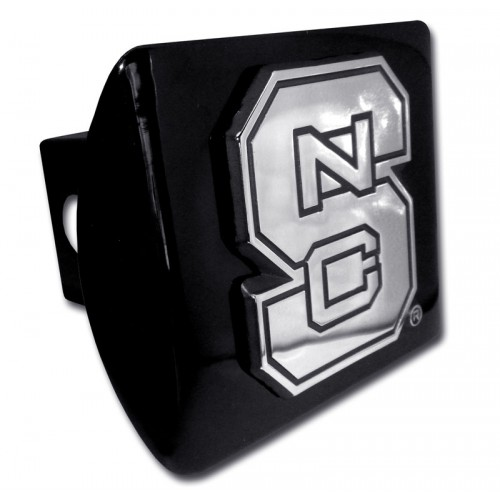 North Carolina State Logo Chrome on Black Hitch Cover