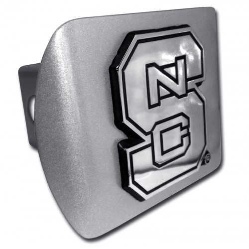 North Carolina State Logo Chrome on Brushed Steel Hitch Cover