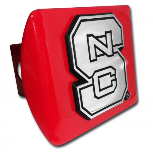 North Carolina State Logo Chrome on Red Hitch Cover