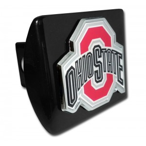 Ohio State Logo Color on Black Hitch Cover