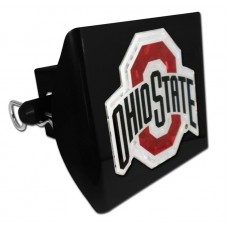 Plastic Ohio State Color Logo Bling on Black Hitch Cover