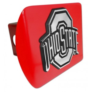 Ohio State Logo Chrome on Red Hitch Cover
