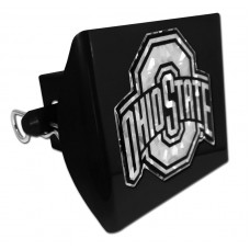 Plastic Ohio State Silver Logo Bling on Black Hitch Cover