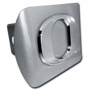 Oregon Logo Chrome on Brushed Steel Hitch Cover