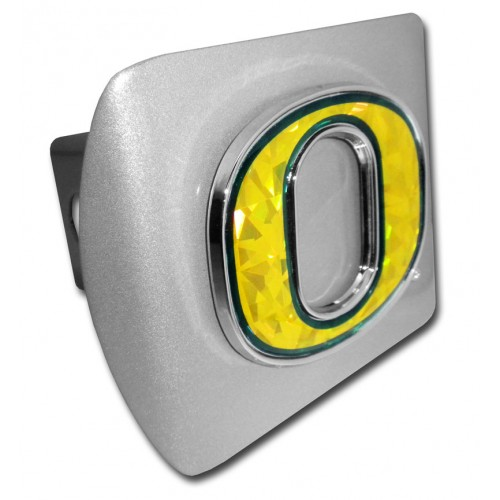Oregon Logo Color Bling on Brushed Steel Hitch Cover