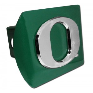 Oregon Logo Chrome on Green Hitch Cover