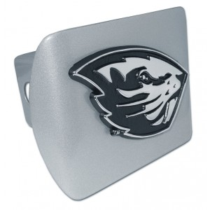 Oregon State Chrome on Brushed Steel Hitch Cover