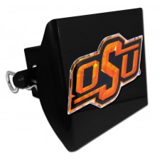 Plastic Oklahoma State Color Logo Bling on Black Hitch Cover
