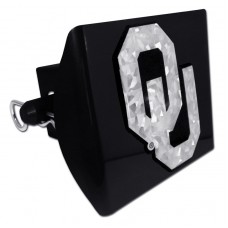 Plastic Oklahoma Silver Logo Bling on Black Hitch Cover