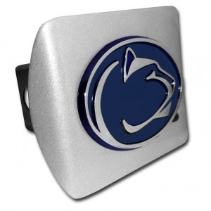 Penn State Blue on Brushed Steel Hitch Cover