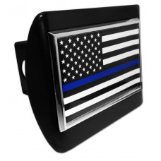 Police USA Flag on Black Hitch Cover