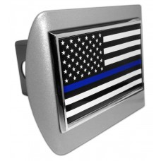 Police USA Flag on Brushed Steel Hitch Cover