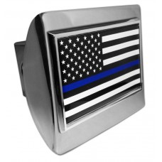 Police USA Flag on Chrome Hitch Cover