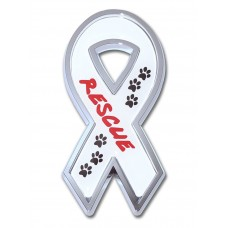 Rescue Ribbon White on Chrome Emblem