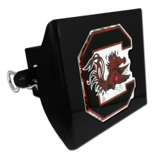 Plastic South Carolina Color Logo Bling on Black Hitch Cover
