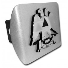 Scottish Rite Symbol Chrome on Brushed Steel Hitch Cover