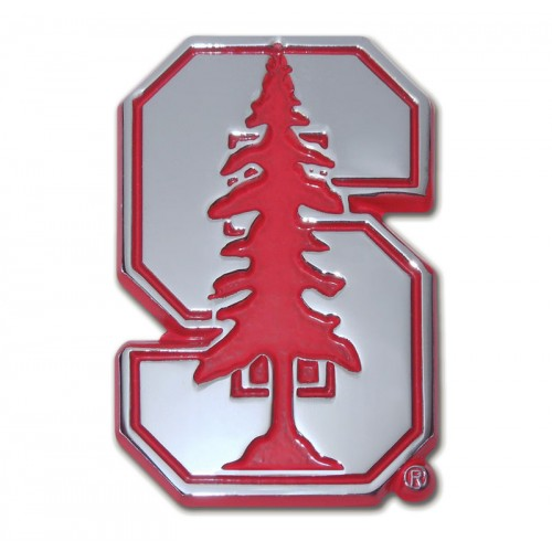 Stanford Logo Red and Chrome Emblem