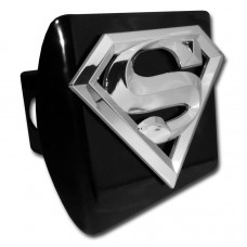 Superman 3D Logo Chrome on Black Hitch Cover
