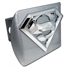 Superman 3D Logo Chrome on Brushed Steel Hitch Cover