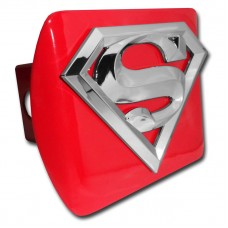 Superman 3D Logo Chrome on Red Hitch Cover