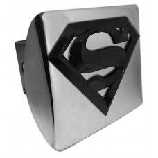 Superman 3D Logo Black on Chrome Hitch Cover