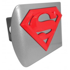 Superman 3D Logo Red on Brushed Steel Hitch Cover