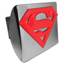 Superman 3D Logo Red on Chrome Hitch Cover