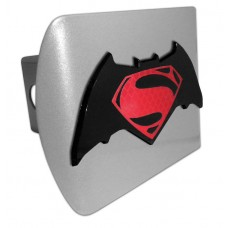 Batman/Superman Red Logo on Brushed Steel Hitch Cover
